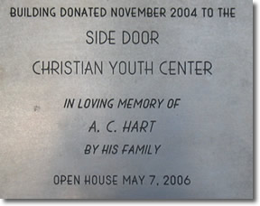 Plaque on Youth Center Building